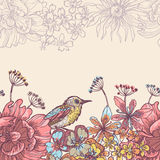 Garden flowers and birds horizontal seamless ribbon Stock Photo
