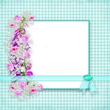 Garden Flowers bordering graphic gingham background with ribbon and faux gem. Teal aqua gingham background with white center for text. Garden flowers to the left vector illustration