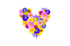 Garden flowers heart concept isolated Stock Photo