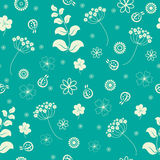 Garden flowers and herbs seamless background. Garden flowers and herbs seamless green background Royalty Free Stock Photos