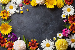 Garden flowers over stone table background Stock Image