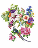 Garden flowers and pheasant birds watercolor pattern Royalty Free Stock Image
