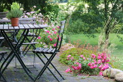 Terrace. With tables and chairs summer Royalty Free Stock Images