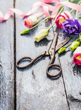 Garden Flowers with scissors,  pink ribbon on old blue table Stock Photo