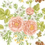 Garden flowers. Seamless floral pattern in Victorian style. Stock Image