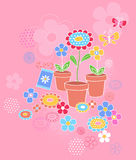 Garden Flowers Seamless Repeat Pattern. Potted Flowers Garden Vector Illustration Stock Photos