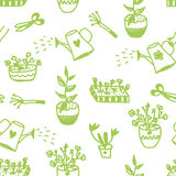Garden flowers and tools seamless pattern Royalty Free Stock Photo
