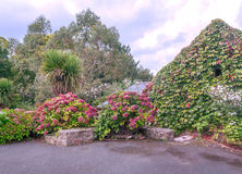 Garden with flowers. And trees on a cloudy day in France Stock Photo