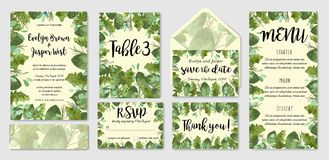Garden foliage watercolor wedding invitation set, envelope, table number, menu. Leaves of roses, gerberas and eucalyptus, wax flo. Wers. Spring vector vector illustration