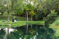 Garden footbridge Royalty Free Stock Photos