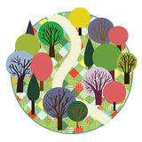 Garden or forest cute round card design Stock Image