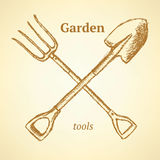 Garden fork and shovel,  background in sketch style Stock Image
