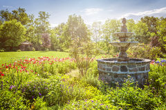 Garden with fountain and gazebo Royalty Free Stock Photo