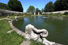 Garden and fountain of Regina castle. Garden of Regina castle of Turin, Italy Stock Images