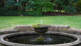 Garden fountain with running water stock footage
