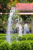 Garden fountains in villa field Royalty Free Stock Image