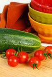 Garden Fresh Cucumber And Tomatoes Royalty Free Stock Photography