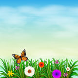 A garden with fresh flowers and a butterfly. Illustration of a garden with fresh flowers and a butterfly Royalty Free Stock Photography