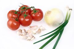 Garden fresh tomatoes  garlic onion Stock Images