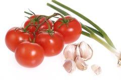 Garden fresh tomatoes  garlic onion Royalty Free Stock Photo