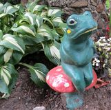 Garden Frog Ornament. An old, ceramic frog sits on a toadstool in the garden stock images