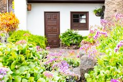 Garden in front of house of the Jameos del Agua with pool and colorful trees, Lanzarote, Canary Islands, Spain.  stock images