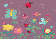 Garden and funny insects. A funny garden with flowers and insects. Vector illustration Stock Photo