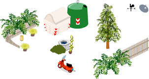 Garden furniture. Elements and objects of a garden royalty free illustration