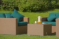 Garden furniture. Lifestyle - Stylish garden furniture at home Stock Photo