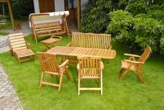 Garden furniture. The Garden furniture by the garden house Stock Photos