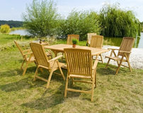 Garden furniture. The Garden furniture by the pool Royalty Free Stock Image