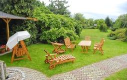Garden furniture. The Garden furniture in the garden Royalty Free Stock Photos