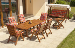 Garden furniture. The Garden furniture by the house Stock Images
