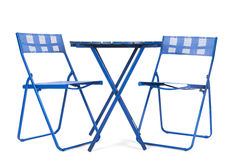 Garden furniture. Blue garden furniture isolated over white background Royalty Free Stock Images