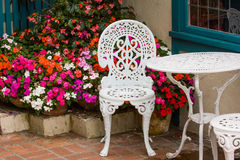 Garden furniture. Outside cafe in popular Cannnon Beach, Oregon Royalty Free Stock Photography