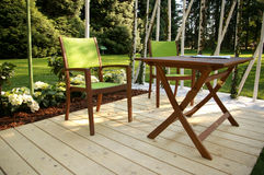 Garden furniture. A nice collection of garden decorations (chair, table, flower stock photos