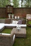 Garden furniture. Spring decorated garden furniture in backyard Stock Photo