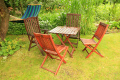 Garden Furniture After A Summer Rain Royalty Free Stock Image