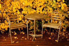 Garden furniture in autumn Stock Photo