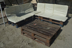 Garden furniture. Hand made garden furniture made ​​from old pallets Stock Photos