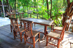 Garden furniture made from bamboo Stock Photos