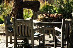 Garden furniture made from teak Stock Photos
