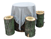 Garden furniture made from wooden log isolated Stock Photo
