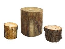 Garden furniture made from wooden log isolated on white backgrou Stock Image