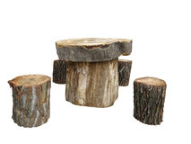 Garden furniture made from wooden log isolated on white Stock Image