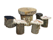Garden furniture made from wooden log isolated on white Stock Photo