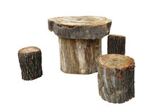 Garden furniture made from wooden log isolated on white Stock Photography