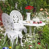 Garden furniture set with flowers growing in garden Royalty Free Stock Photography