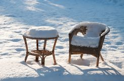 Garden furniture under the snow Royalty Free Stock Image