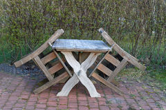 Garden furniture in upright position Royalty Free Stock Photography